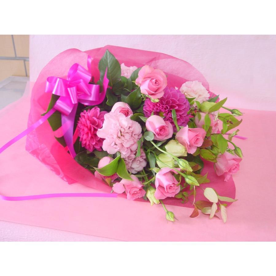 ピンク系 長めの花束 お花屋さんにおまかせ フラワーギフト|hana-mizuki|02