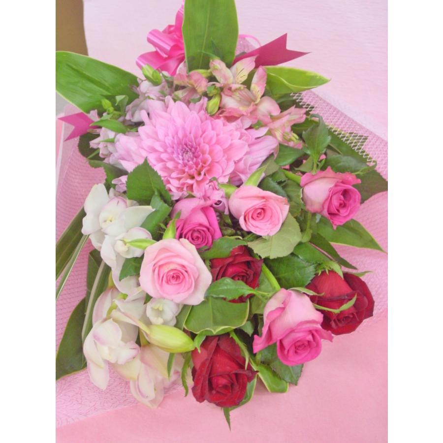 ピンク系 長めの花束 お花屋さんにおまかせ フラワーギフト|hana-mizuki|03