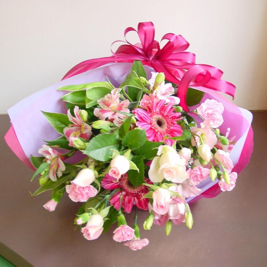 ピンク系 長めの花束 お花屋さんにおまかせ フラワーギフト|hana-mizuki|04