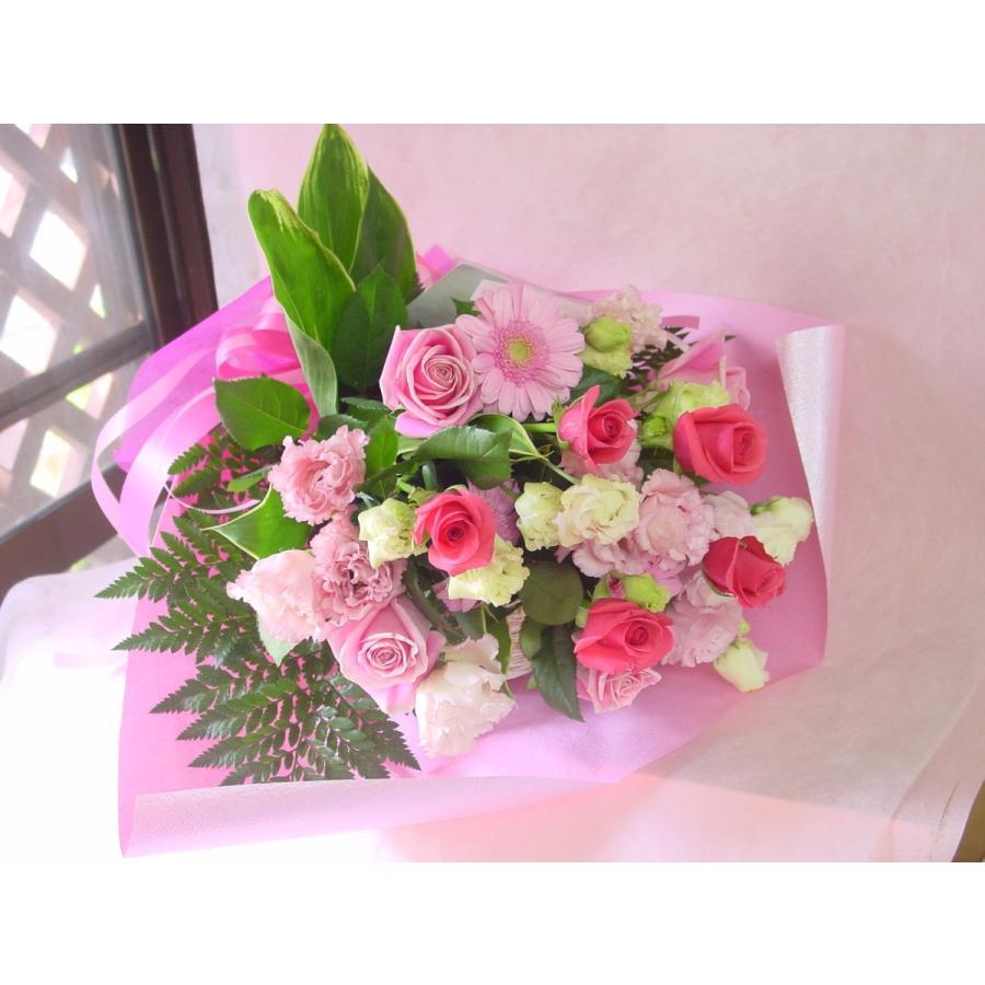 ピンク系 長めの花束 お花屋さんにおまかせ フラワーギフト|hana-mizuki|05