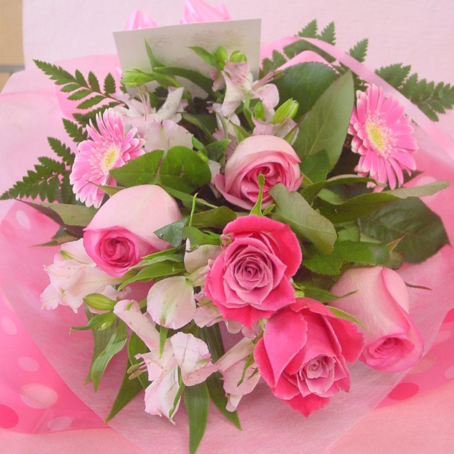 ピンク系 長めの花束 お花屋さんにおまかせ フラワーギフト|hana-mizuki|06