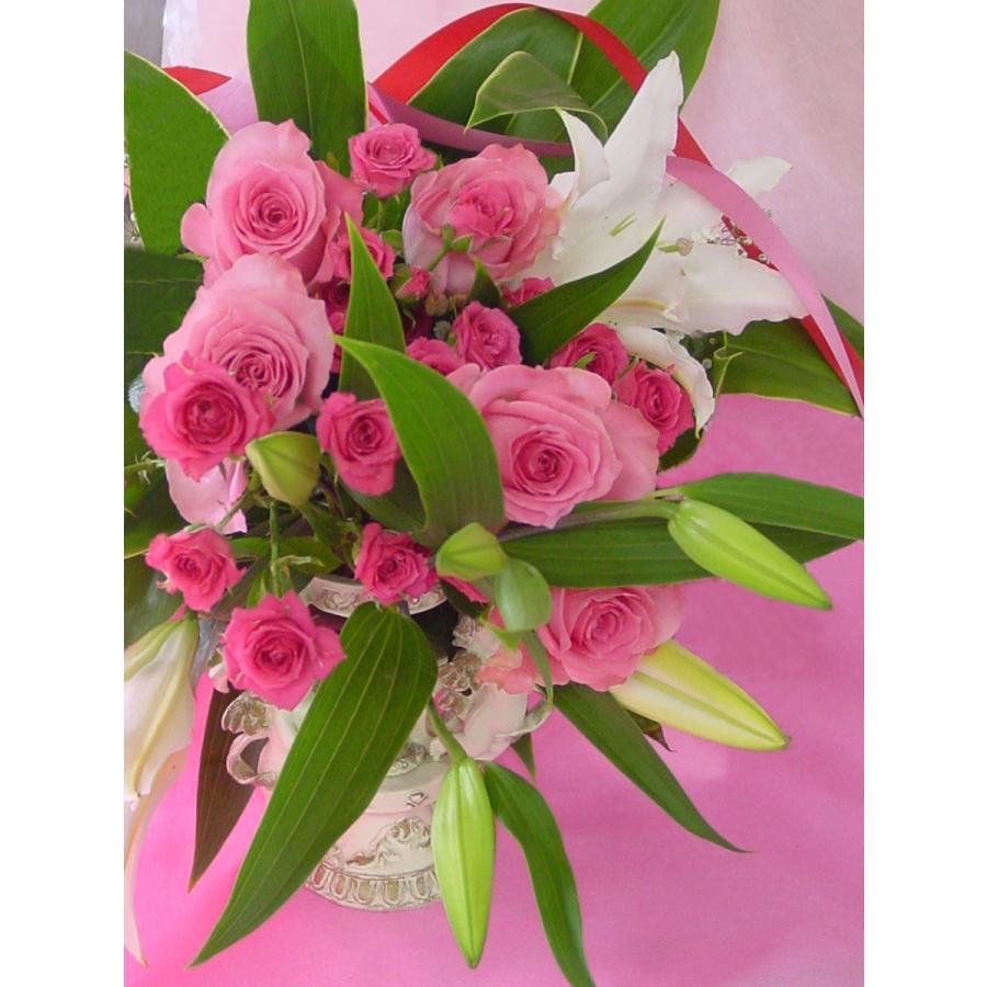 ピンク系 長めの花束 お花屋さんにおまかせ フラワーギフト|hana-mizuki|09