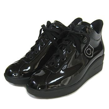 ルコライン靴(アージレ) 2020春夏 新作 限定品 エナメル スニーカー RUCO LINE靴 NO.128BK(ブラック) ファスナー付き|hana-music