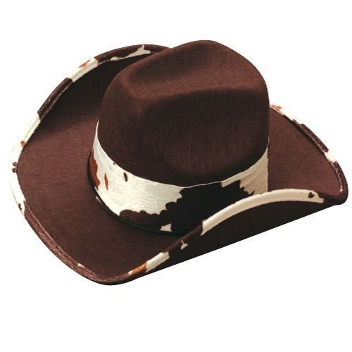 US Toy - Cowboy Hat With Cowskin Trim Brown 5.5Made Of Felt Adult Size [並行