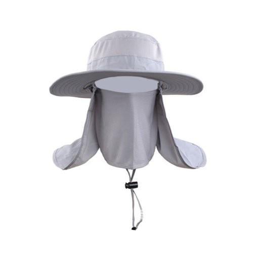 ファッション夏アウトドア太陽保護釣りキャップネック面フラップ帽子Wide Brim グレー