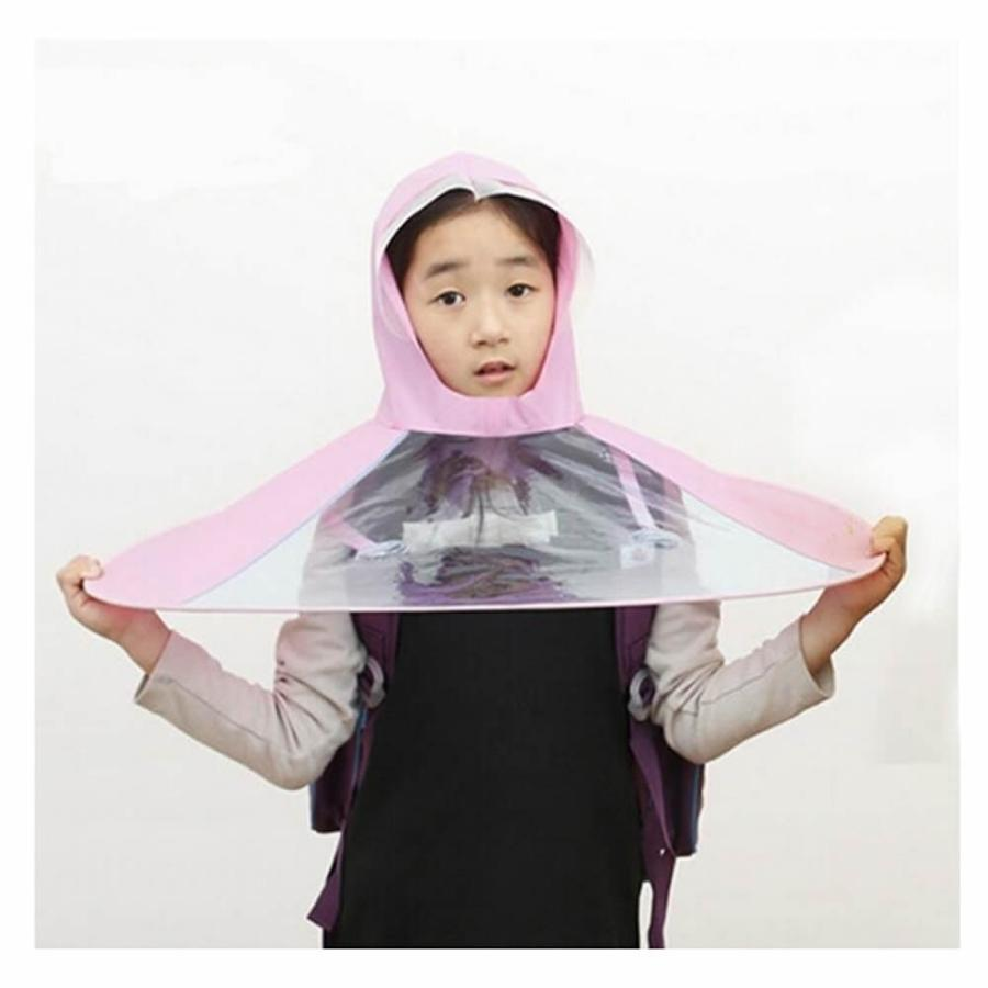 新しいデザインクリエイティブKids Hands Free折りたたみ式ウェアラブルレインコート/帽子傘for Raining Fun / chool