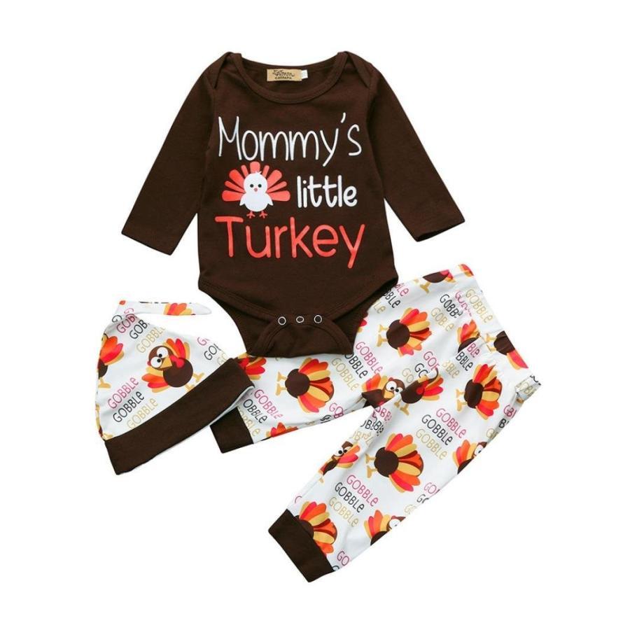 感謝祭トルコleewa @ 3pcs新生児幼児ベビーガールズ/ボーイズ服、ロンパーストップス+パンツ+帽子セット ブラウン