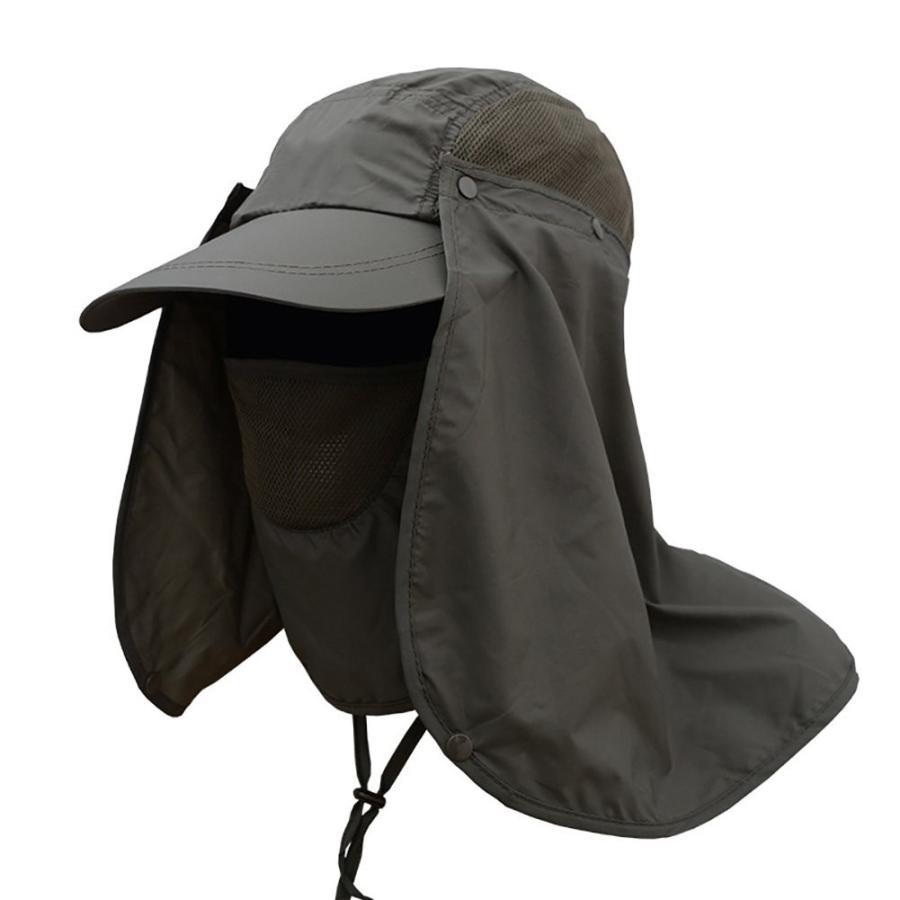 wingbindアウトドア太陽保護釣りキャップ取り外し可能なネックフラップ、面カバーマスク、広いつば夏帽子、ソリッドカラーBoonie Hatメンズ
