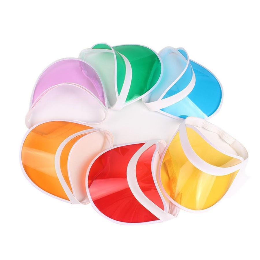 huplueプラスチック透明サンバイザークリアゴルフバイザー帽子UV保護帽子キャップキャンディーカラーのアウトドア
