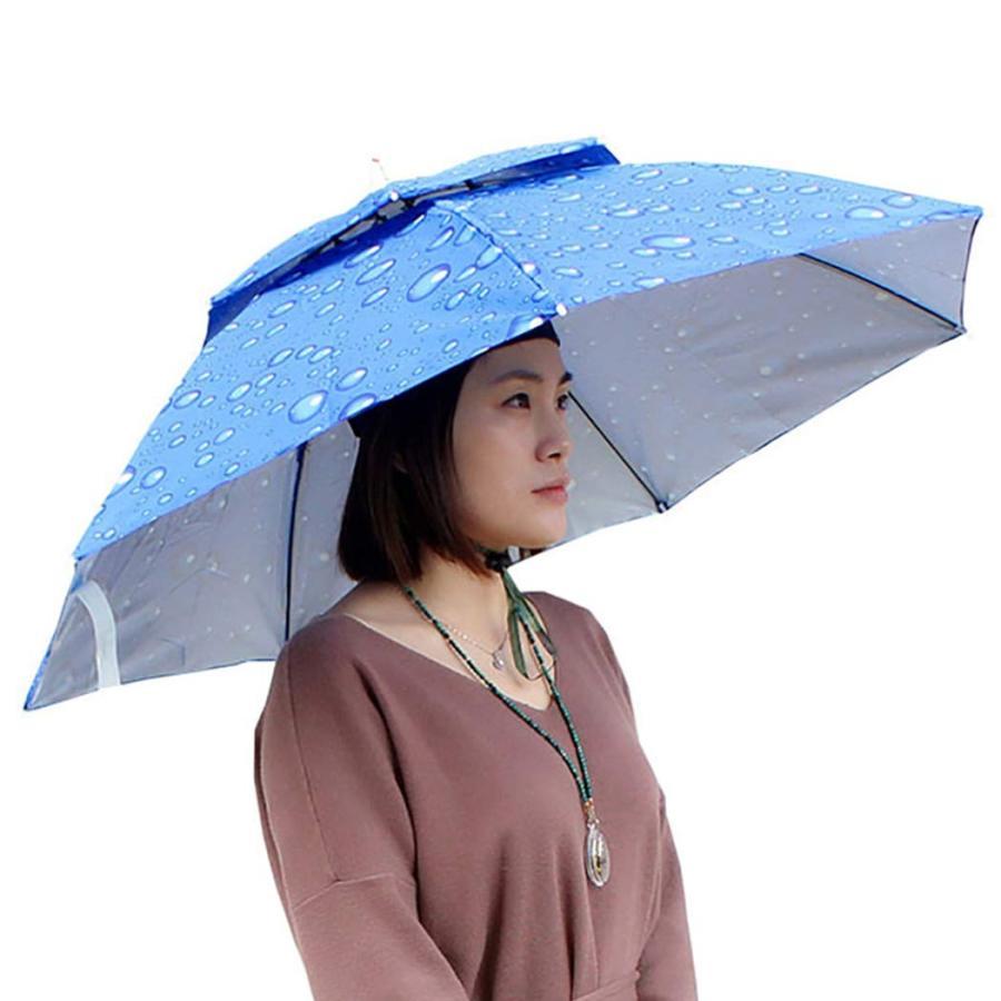 Outgeek 帽子 傘 釣り傘 帽子 二層キャップ ゴルフ ガーデニング ハンティング ハイキング アウトドア 旅行 折りたたみ 日よけ 雨 キャ