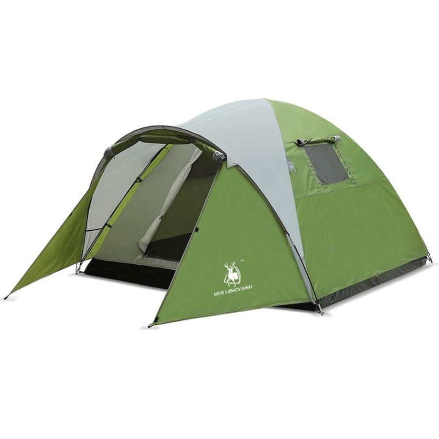 テント、3-4人超軽量キャンプ用具ダブルレイヤー防水テントワンルームとリビングルーム屋外防水テント (色 : 緑 サイズ : )