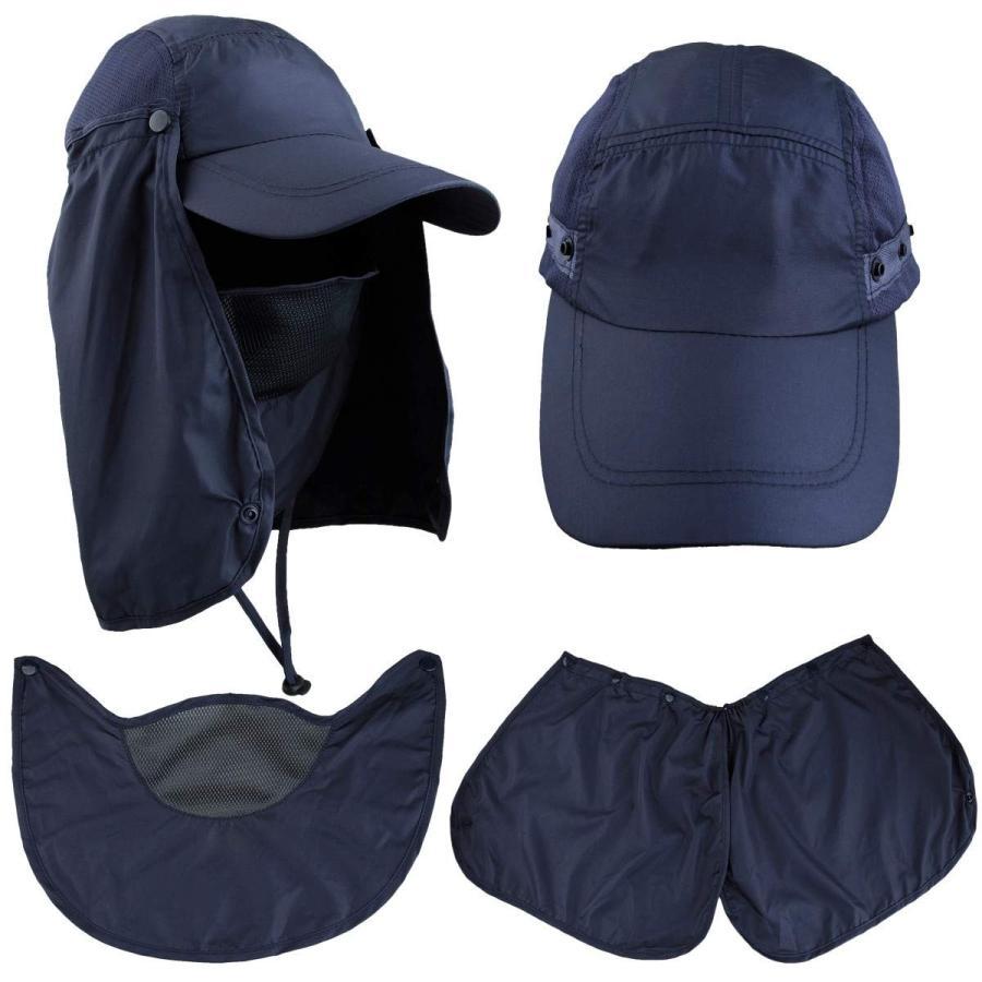 moonsix 日焼け防止釣りキャップ 取り外し可能な顔の首カバーフラップ アウトドアハット ブルー