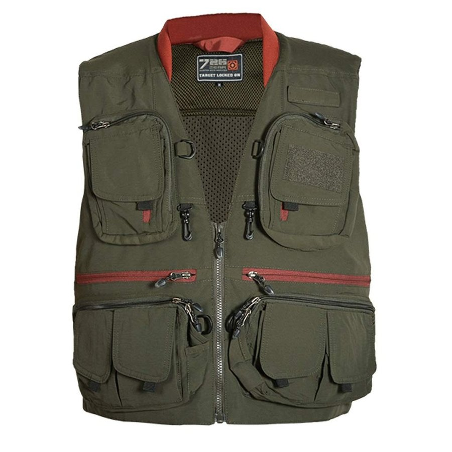 ポケットベスト秋のアウトドアレジャーマルチポケットベスト写真撮影、釣り、メンズベスト (色 : 緑 サイズ さいず : )