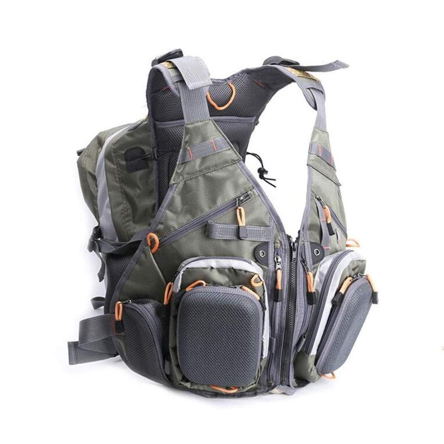 釣りベスト調節可能なサイズマルチポケットチェストバッグ多機能バックパック旅行写真撮影メッシュカジュアル大きいサイズ屋外ベスト (Color : Gr