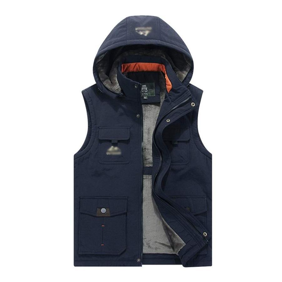 フード付きメンズ冬暖かいアウトドアパッド入りフグのベスト太いフリース裏地ノースリーブジャケット (Color : 青 サイズ : M)