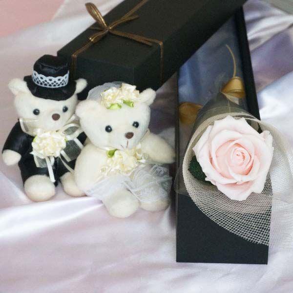 プリザーブドフラワー 1本のバラをボックスに入れて プロポーズ 誕生日 国内正規品 結婚 祝電 セール特別価格 プレゼント 母の日 ウェディングベア 一輪 ブリザード 電報