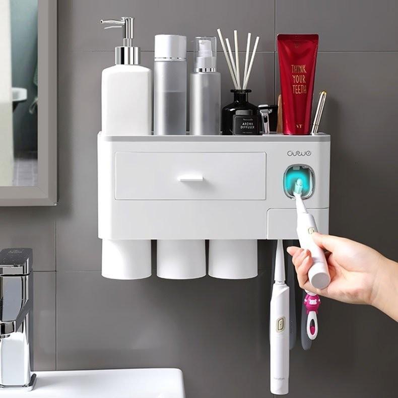 歯ブラシスタンド 歯磨きコップ ホルダー 洗面台収納 一台多役 歯磨き粉ホルダー 自動歯磨き粉チューブ 壁掛け 安売り 粘着式 爆売りセール開催中 バスルーム収納 歯ブラシホルダー