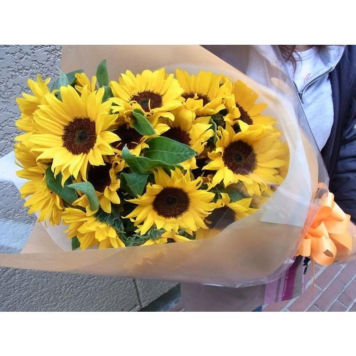 ひまわり10本の花束 ☆送料無料☆ 日時指定 当日発送可能 父の日誕生日お祝い事サプライズのプレゼントお供えのなどに高品質なヒマワリをお届けします