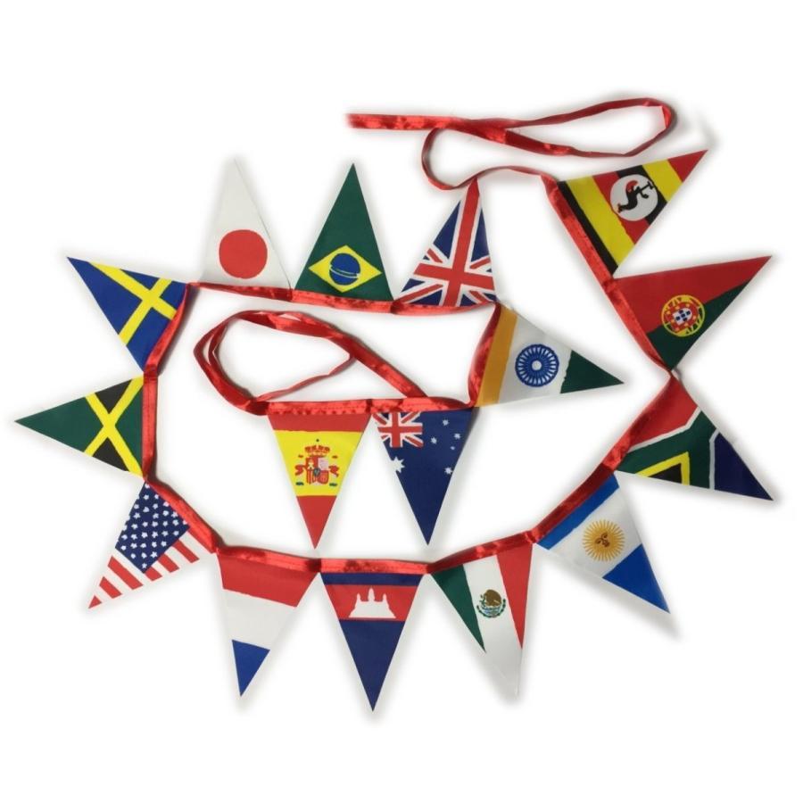 フラッグガーランド ワールドフラッグ ミニ万国旗 手書き風国旗 (16枚 全長2800mm)|hanamaru-store
