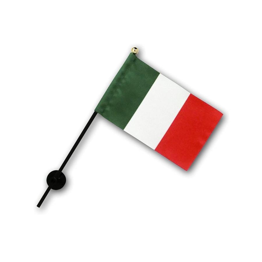 イタリア 国旗 ミニフラッグ ポール 吸盤付き 高級テトロン製 hanamaru-store