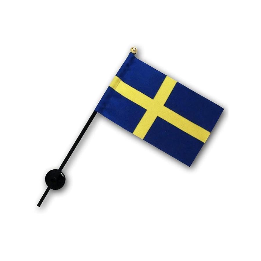 スウェーデン 国旗 ミニフラッグ ポール 吸盤付き 高級テトロン製|hanamaru-store|04