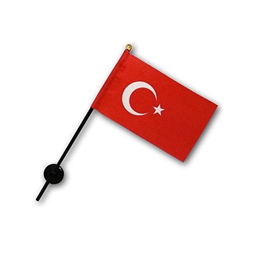 トルコ 国旗 ミニフラッグ ポール 吸盤付き 高級テトロン製|hanamaru-store