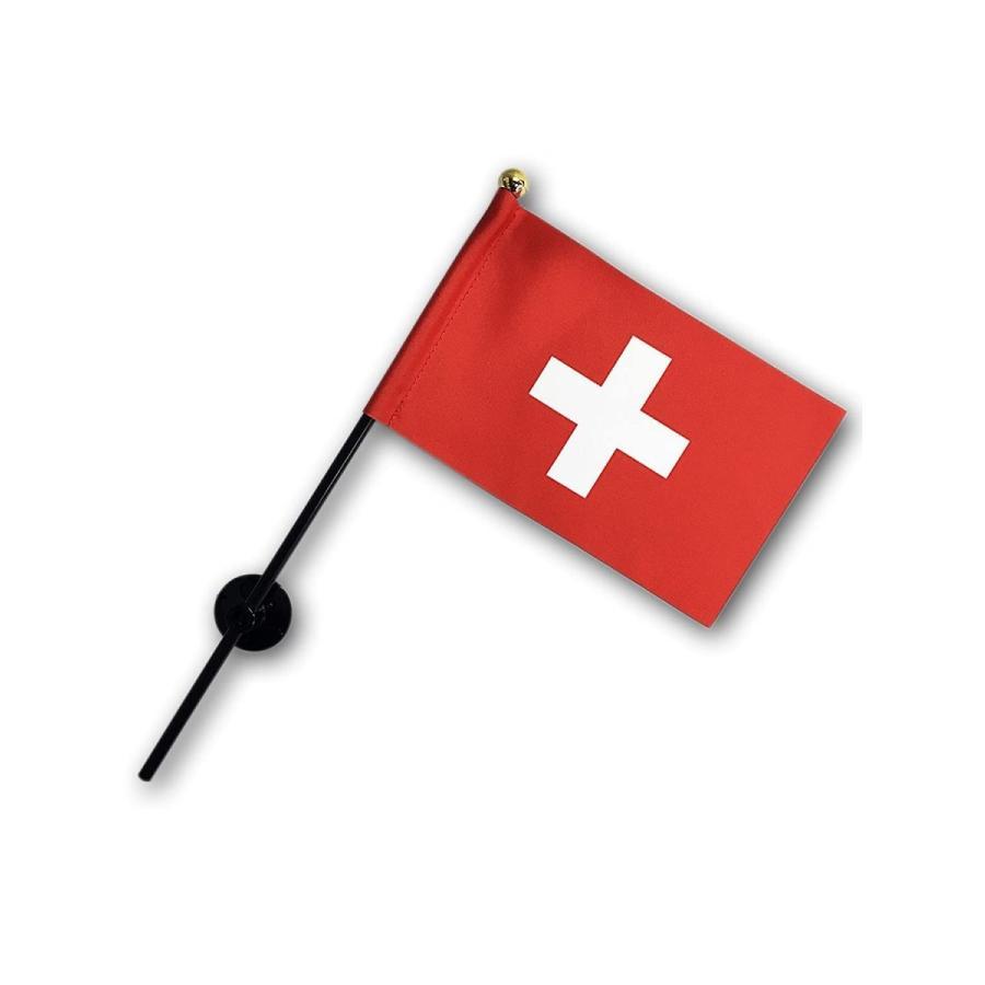 スイス 国旗 ミニフラッグ ポール 吸盤付き 高級テトロン製|hanamaru-store|02