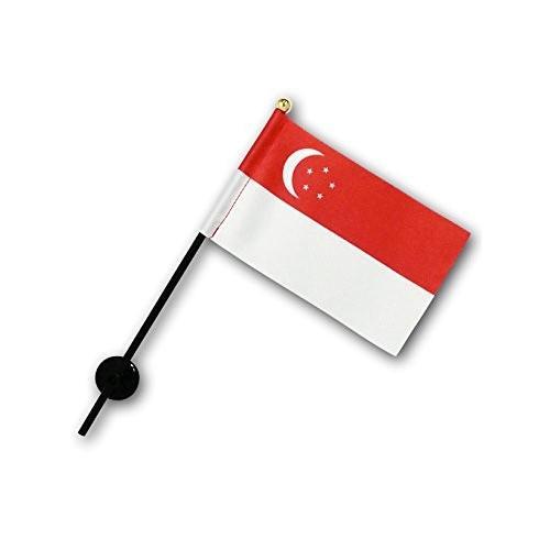 シンガポール 国旗 ミニフラッグ ポール 吸盤付き 高級テトロン製 hanamaru-store 03