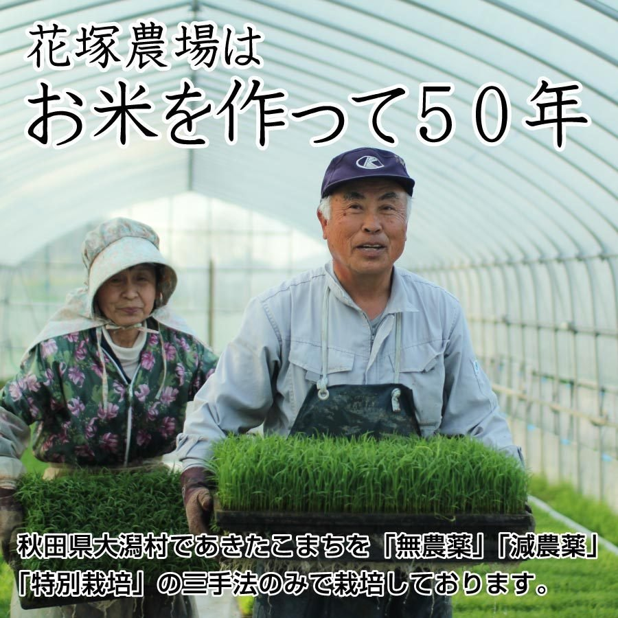 令和2年産米 秋田県産 あきたこまち 特別栽培 玄米 5kg 農薬8割減 化学肥料9割減 慣行栽培比 農家直送|hanatsukafarm|06