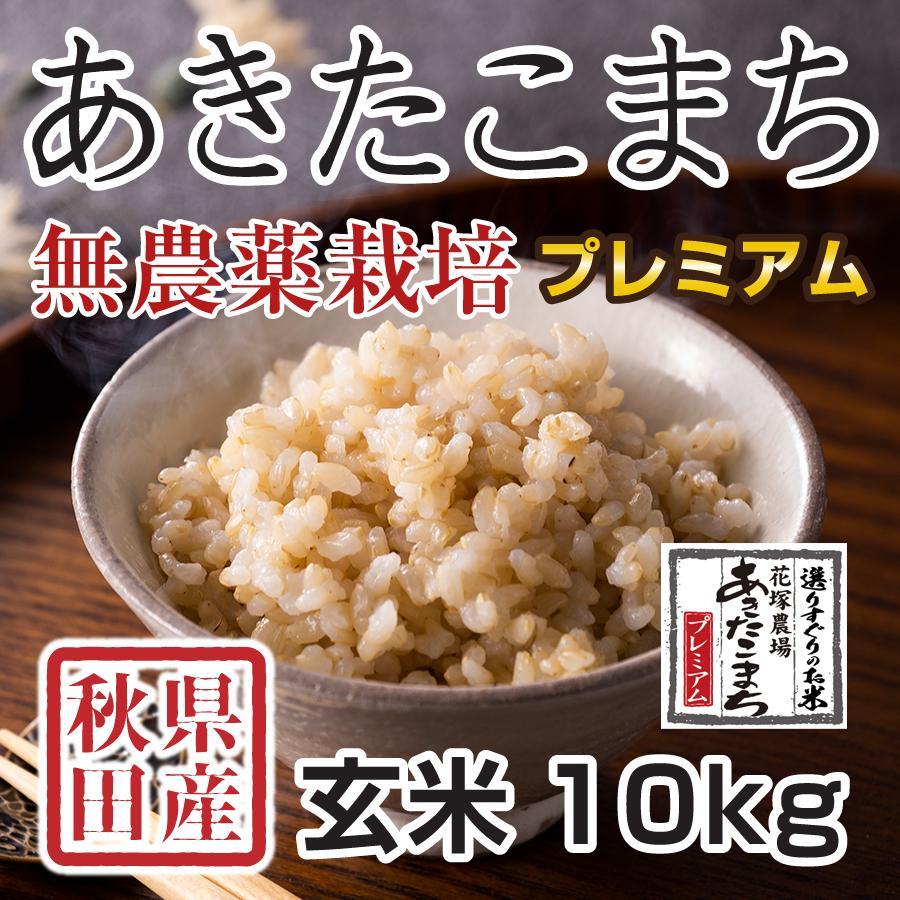 玄米 令和3年産新米 秋田県産 あきたこまち 無農薬栽培プレミアム 10kg 農家直送|hanatsukafarm