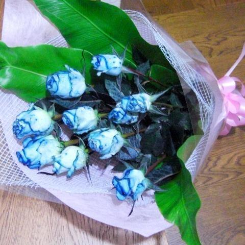 永遠の定番モデル 国内正規総代理店アイテム 青いバラの花束ブルーローズ_包装_メッセsmtb-td02P27May11