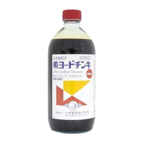 日本 第3類医薬品 商い 希ヨードチンキ 500mL 5個セット 4987371142378-5