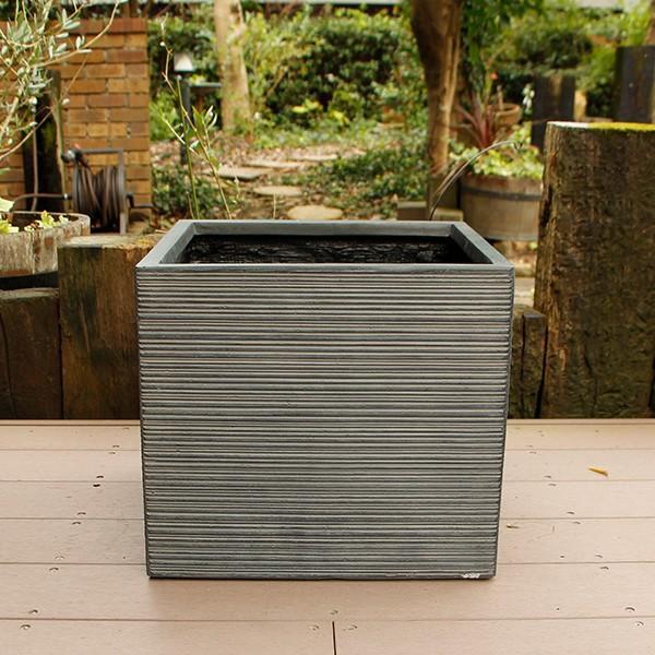 オリジナル 植木鉢 ファイバークレイ ストライプ ブラック 40×36 角型 卸売り