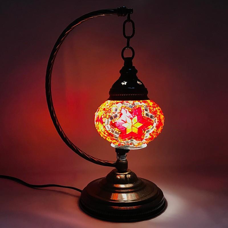 スワン型シェードランプ トルコ製 Sサイズ 《ガラス玉:W11cm H8cm》 トルコランプ モザイクランプ 置き型 置き型 〈b1_sw_0008〉