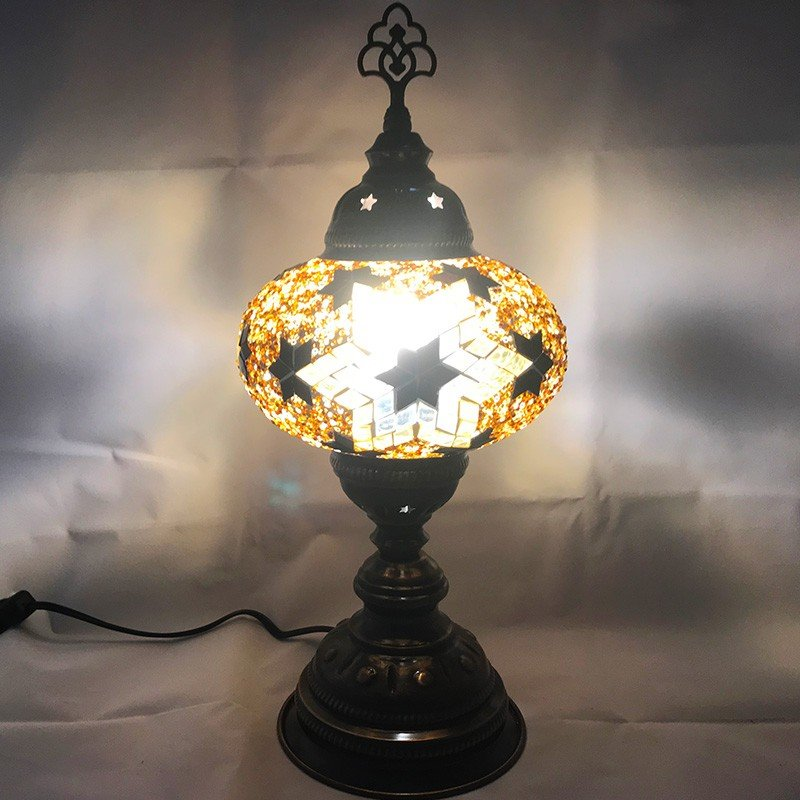 テーブルランプ トルコ製 Lサイズ Lサイズ 《ガラス玉:W16cm H11cm》 トルコランプ モザイクランプ 置き型ランプ 〈b3_ta_0003〉