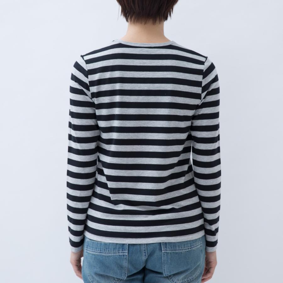 Tシャツ カットソー シンプル ボーダー シャツ 長袖 レディース 大きいサイズ S M L LL 3L 4L ecorogyfirst エコロジー ファースト|hangaa|02