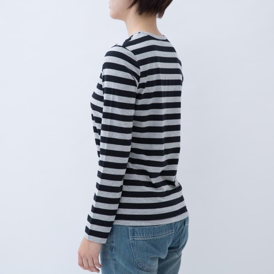 Tシャツ カットソー シンプル ボーダー シャツ 長袖 レディース 大きいサイズ S M L LL 3L 4L ecorogyfirst エコロジー ファースト|hangaa|03