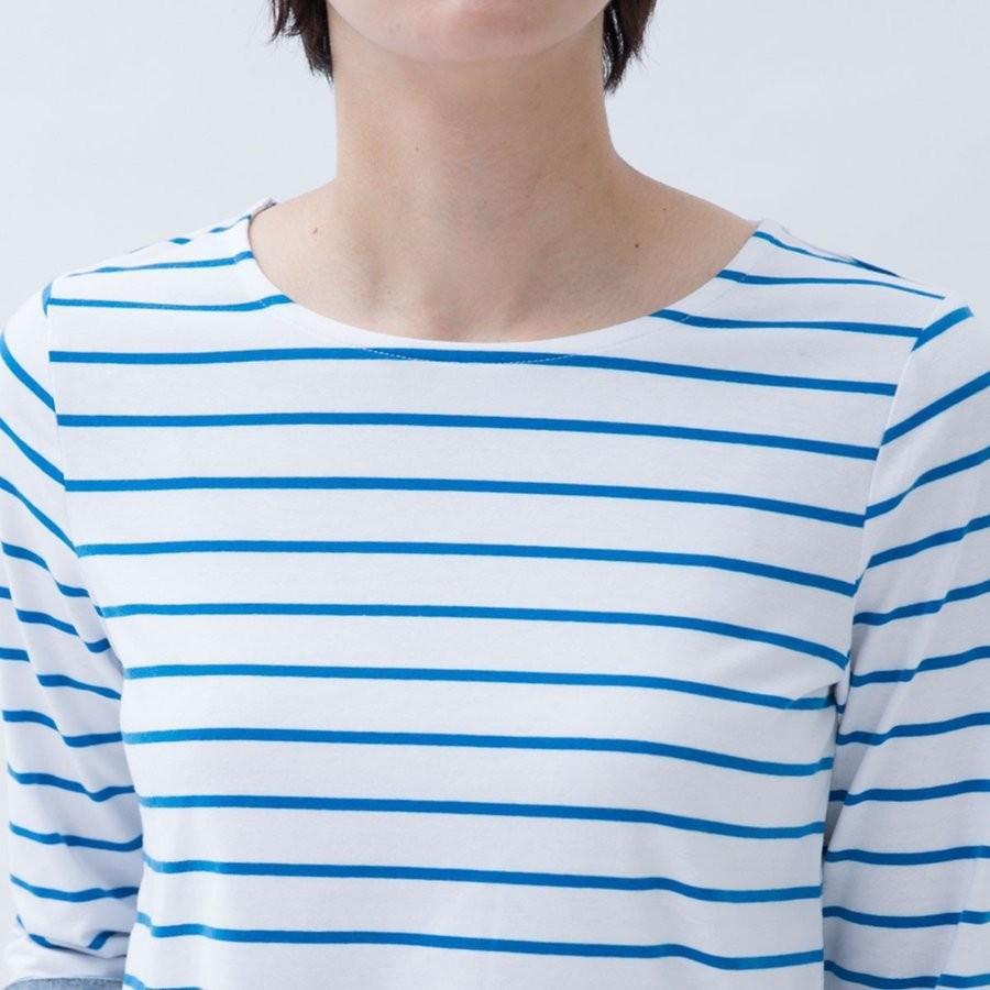 Tシャツ カットソー シンプル  ボーダー シャツ 天竺 七分袖 レディース S M L LL ecorogyfirst エコロジー ファースト hangaa 06