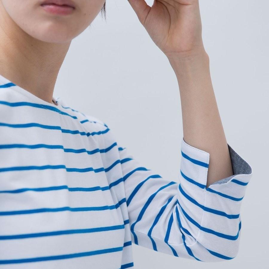 Tシャツ カットソー シンプル  ボーダー シャツ 天竺 七分袖 レディース S M L LL ecorogyfirst エコロジー ファースト hangaa 07