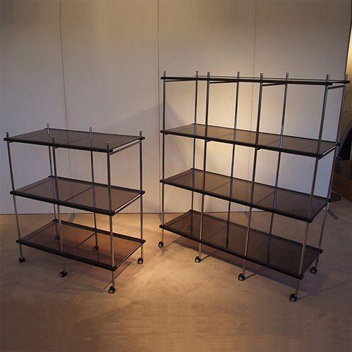 折りたたみ商品棚 OS−B204 四段二列 四段二列 4段2列 ブラウン
