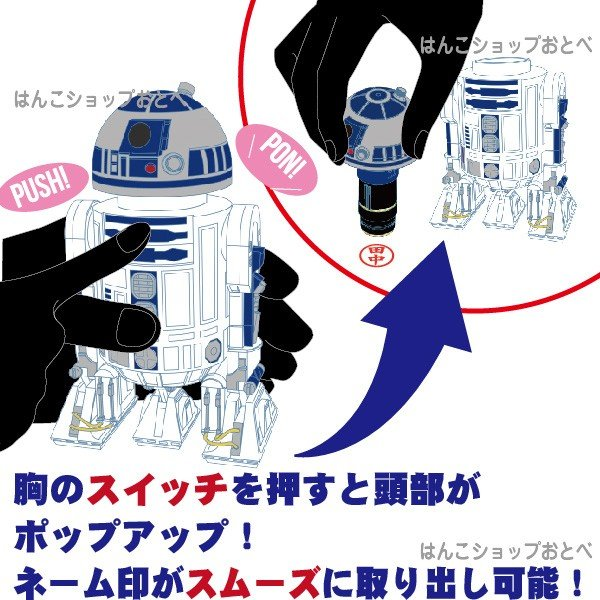 スターウォーズ R2D2 ネーム印 サンスター R2-D2 ネーム印付き スカイウォーカーの夜明け グッズ hanko-otobe 04