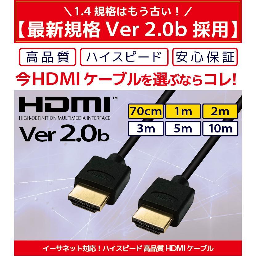 HDMIケーブル 2m 1m Ver.2.0b フルハイビジョン HDMI ケーブル 4K 8K 3D 対応 2.0m 1.0m 200cm 100cm HDMI20 AV PC 細線 ハイスピード 送料無料 メール便 「メ」|hanwha|02
