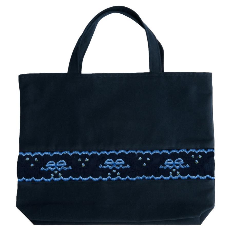 8794afd908ff8 手刺繍スモッキング リボン柄ブルーA 紺色布製レッスンバッグ  ar-003 お ...