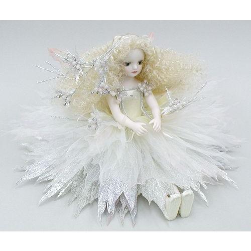 若月まり子 お花の妖精人形♪エルフィンフローリー:グラキャリス(クール・ホワイト)ビスクドール 妖精 フラワーフェアリー 陶器 お人形 ギフト お