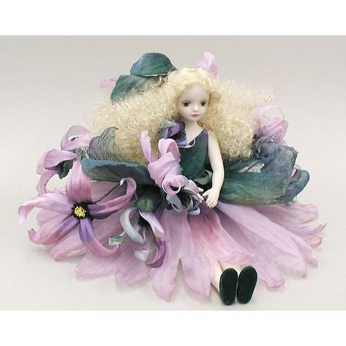 若月まり子 お花の妖精人形♪エルフィンフローリー:イランイラン(パープル)ビスクドール 妖精 フラワーフェアリー 陶器 お人形 ギフト お祝い 記