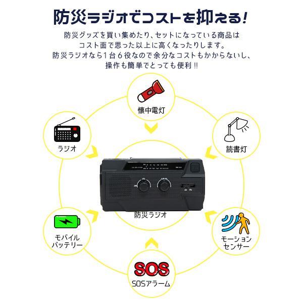 1年保証付き 多機能 防災ラジオ 全6色 〔防水 AM FM 4000mAh ソーラー 手回し USB 充電 LED ライト 懐中電灯 防災用品 防災グッズ 必要なもの|happy-joint|12