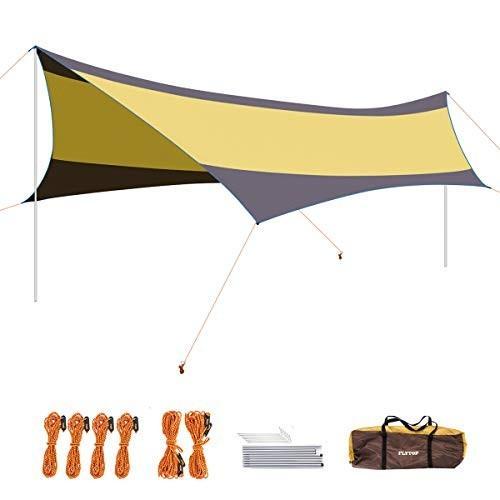 Suublue 550*560cm ヘキサゴン天幕 超広い タープテント シェード 日除け 日焼け紫外線カート 防水タープ サンシェ