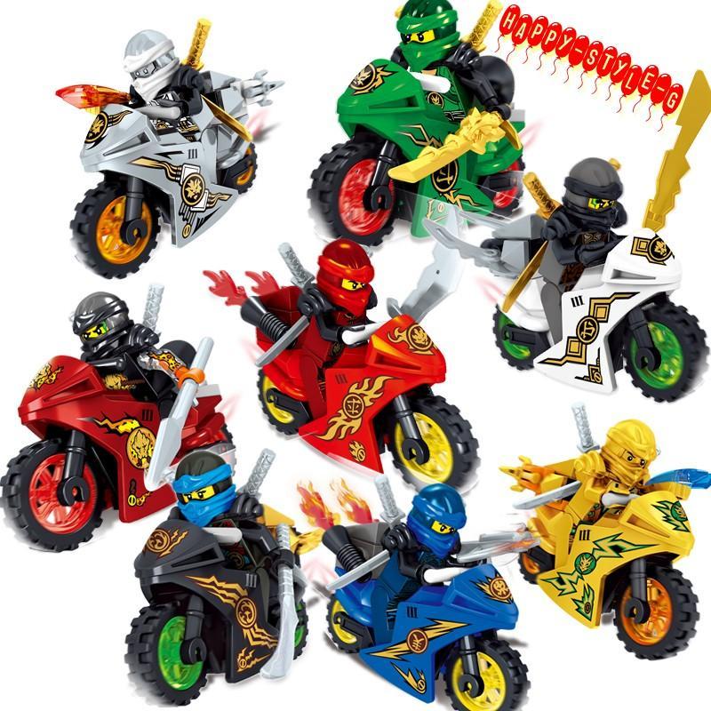 ブロック互換 レゴ 互換品 レゴブロック レゴミニフィグ ニンジャゴー 忍者とバイク各8台 クリスマス プレゼント|happy-style-g