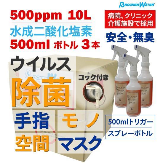 除菌スプレー コロナウイルス対策 水成二酸化塩素 500ppm ブロッケンウォーター 10L  空ボトル3本|happybday