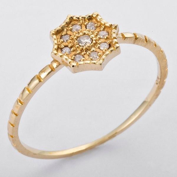 【現金特価】 K10イエローゴールド 天然ダイヤリング 指輪 ダイヤ0.06ct 9号 アンティーク調 フラワーモチーフ, ワカサチョウ 3ec55d58